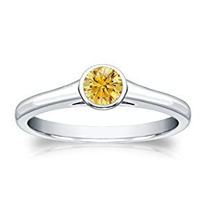 1/3 cttw Bezel set Round-cut Yellow Diamond Solitaire Ring in 18K White Gold, Size 5