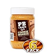PB Crave Natural Peanut Butter, Cookie Nookie, 16oz Jars, (Pack of 6)