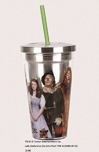 Spoontiques 20505 Wizard of Oz Stainless Steel Cup with Straw, Silver