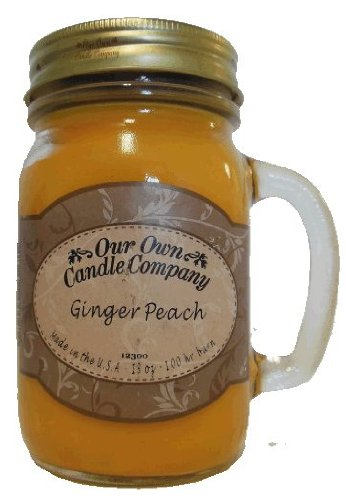 13oz GINGER PEACH Scented Jar Candle (Our Own Candle Company Brand) Made in USA - 100 hr burn time