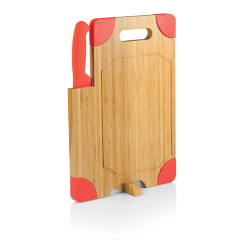 Picnic Time Culina Bamboo Cutting Board With Carving Knife, Red