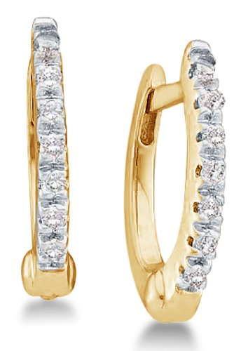 0.08 cttw. Diamond Earrings Fashion Hoops 10K Yellow Gold
