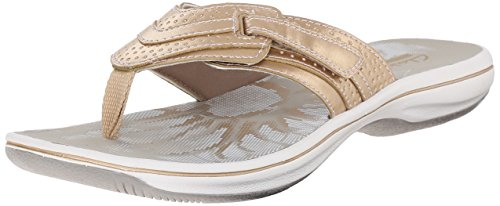 Clarks Women's Brinkley Keeley Flip Flop, Gold, 11 M US