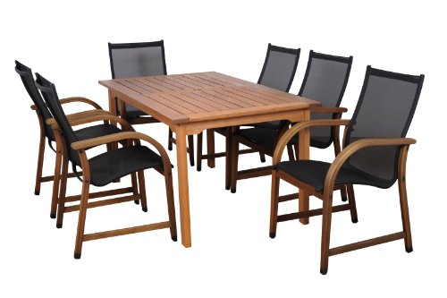 Amazonia Bahamas 7-Piece Eucalyptus Rectangular Dining Set photo