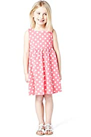Pure Cotton Spotted Empire Line Dress with Stay New&#8482;