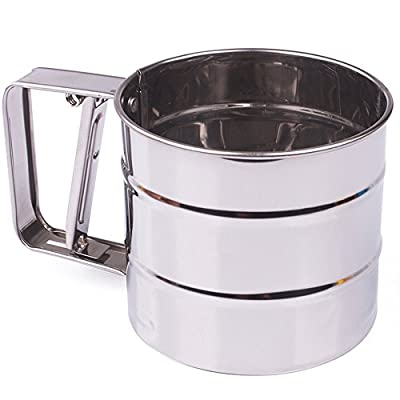 MyLifeUNIT One-Handed Flour Sifter, Stainless Steel Flour Icing Sugar Sifter