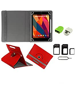 Gadget Decor (TM) PU Leather Rotating 360° Flip Case Cover With Stand For Vox v102 + Free Robot USB On-The-Go OTG Reader + Free Sim Adapter Kit - Red