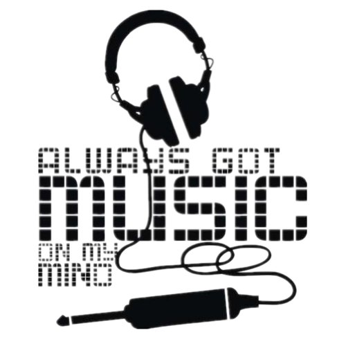 Always Got Music On My Mino Headphones Decor Wall Art Decal Sticker Black