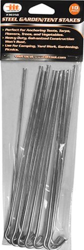 Garden and Tent Stakes 9-Inch Galvanized Steel 10 Piece Set (Yard Stakes)