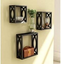 Onlineshoppee Wooden Wall Shelf Set of 3