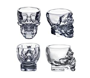 Moyishi Modern 3D Crystal Skull Pirate Shot Glass Drink Cocktail Beer Cup, Set Of 4 by Moyishi