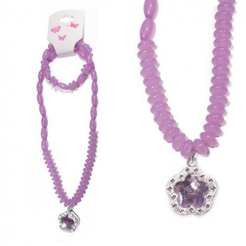 SG Paris Set Necklace+ Bracelet Elastic Comb Lilac Vi Clai/Lil/Mau/Lt Am Jewelry Set Jewelry Set Plastic Winter Kid For the Princess Fashion Jewelry / Hair Accessories Flowers