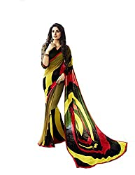 Pramukh saris Womens Georgette Printed Sari(Yellow,Black)