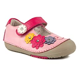 Momo Baby Girls First Walker/Toddler Flower Power Mary Jane Leather Shoes - 8.5 M US Toddler