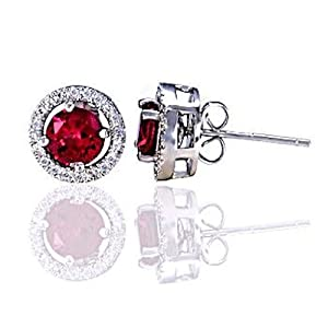 Sterling Silver Removeable 10mm Halo Earring Jacket with 6mm Created Ruby Gemstone Cast Basket Stud Earring Set, Rachel, 1.70 carats