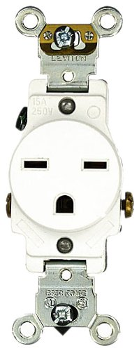 Leviton 5651-W 15 Amp, 250 Volt, Industrial Heavy Duty Grade, Single Receptacle, Straight Blade, Self Grounding, White (Electric Dirt Tamper compare prices)