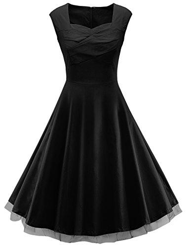 VOGVOG Women's 1950s Retro Vintage Cap Sleeve Party Swing Dress, Black, Medium