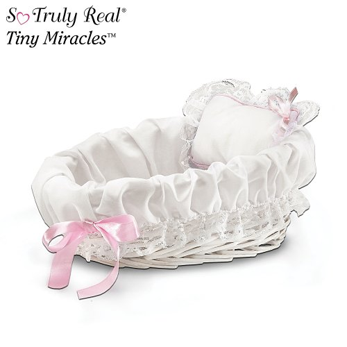 So Truly Real Baby Doll Accessories: Wicker Bassinet With White Liner/Pillow by The Ashton-Drake Galleries