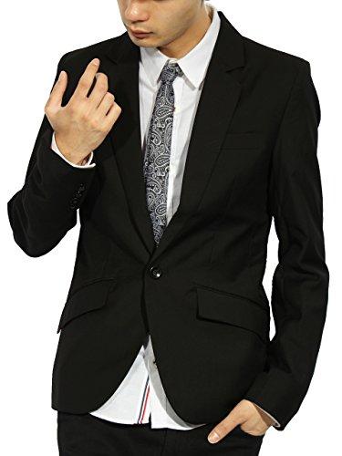 (エイト) 8(eight)3color テーラードジャケット スーツ生地 ブレザー 高級感あり L ブラック