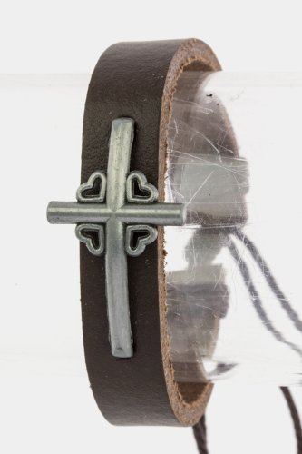 TRENDY FASHION CROSS CHARM LEATHER BRACELET BY FASHION DESTINATION | (Dark Brown) at Amazon.com