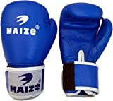 Maizo Leather Moulded Unisex Boxing Gloves (L, Blue & White)
