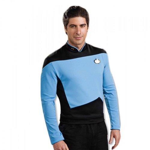 Star Trek Unisex The Next Generation Science Uniform Shirt Blue