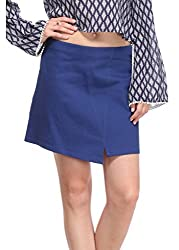 Solid Blue A-Line Skirt