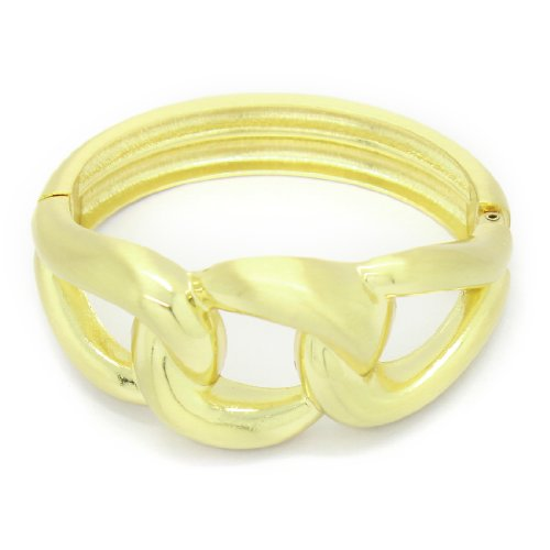 Womens Stylish Metal Gold Tone Cuff Bangle / Bracelet - Yellow