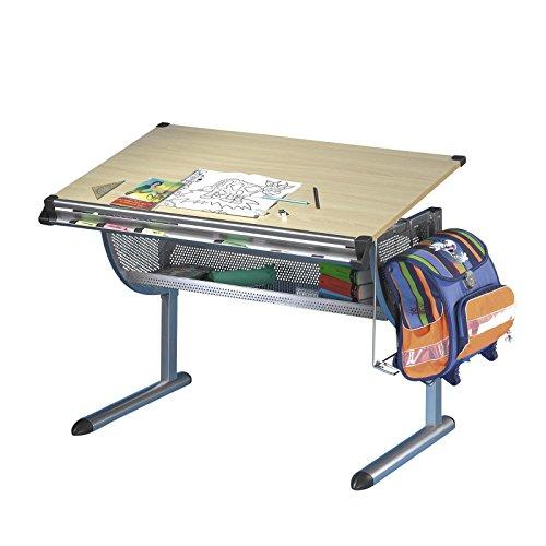 Kinderschreibtisch-Schlerschreibtisch-Schreibtisch-Tisch-MARIO-hhen-und-neigungsverstellbar-Metallgestell-Arbeitsplatte-im-buche-Dekor