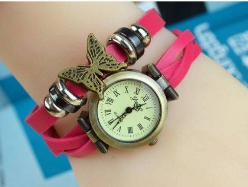 Kano Bak(Tm) Vintage Bronze Butterfly Sense Fashion Vintage Retro Wrap Around Weave Leather Watch Bracelet Wristwatch Wristband Hot Pink