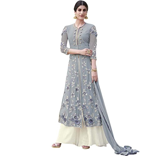 Vasu Saree Majestic Grey & Ivory Colour Heavy Net Lehenga Style Suit  available at amazon for Rs.2999