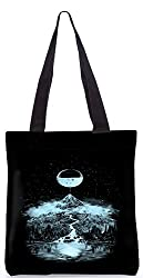 Snoogg Moon Mountain Designer Poly Canvas Fashion Printed Shopping Shoulder Lunch Tote Bag For Women