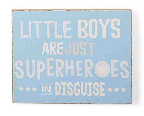 Mud Pie Plaque, Superheroes, Blue