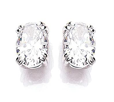 White Gold Cubic Zirconia Oval Solitaire Earrings Made With Swarovski Elements