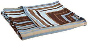 Safdie Printed Stripe Fleece Blanket, Twin, Chocolate Stripes