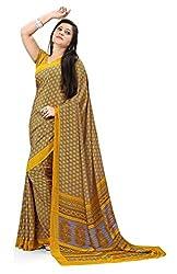 Design Willa Smooth feel Art crepe Sari (DWPC025,Yellow)