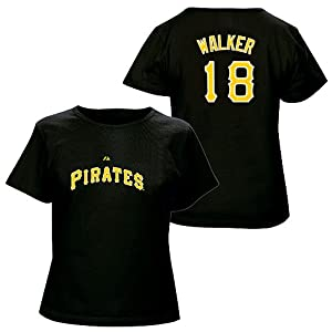 Neil Walker Pittsburgh Pirates Black Ladies Player T-Shirt by Majestic by Majestic