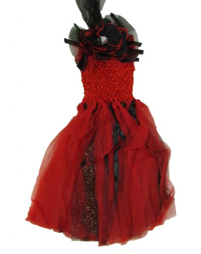 Girls Peony Glitter Tutu Dress One Size Red/Black Skirt - Baby Halter Top front-689902