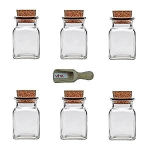Viva Haushaltswaren - 6 Gewürzgläser 150 ml, Glasdosen mit Korkverschluss für Gewürze, Salz, Gastgeschenke, usw, inklusive einer Gewürzschaufel aus Holz