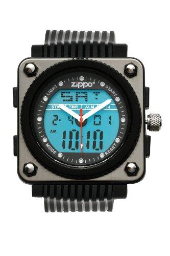 Zippo Black Digital/Analog Sports Watch With Black Polyurethane Strap And Polished Chrome Buckle