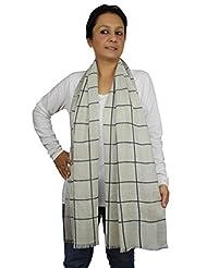 Shalinindia Contemporary Striped Pattern Wool Silk Blend Indian Scarf Women Accessory
