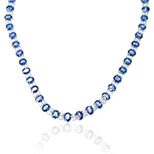 Diamond and Ceylon Blue Sapphire 18k White Gold Necklace