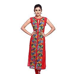 Saamarth Impex Women Cotton Red Color bandhej Work Round Neck Pakistani Style Kurti SI-2872