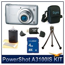 Canon PowerShot A3100 IS Digital Camera (Silver), 12.1 MP, 4x Optical Zoom, 2.7