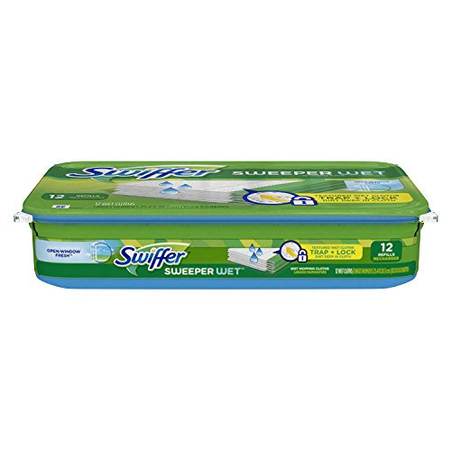 Swiffer Sweeper Wet Mopping Pad Refills for Floor Mop Open Window Fresh Scent 12 Count (Swiffer Sweeper Wet Jet Refills compare prices)