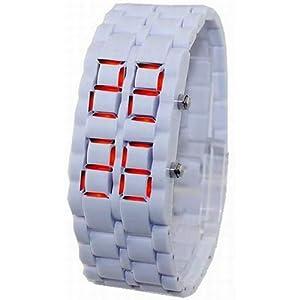 L'affichage LED numérique des femmes de WLM des sports des hommes de montre-bracelet montres en vente Blanc Couleur du bracelet