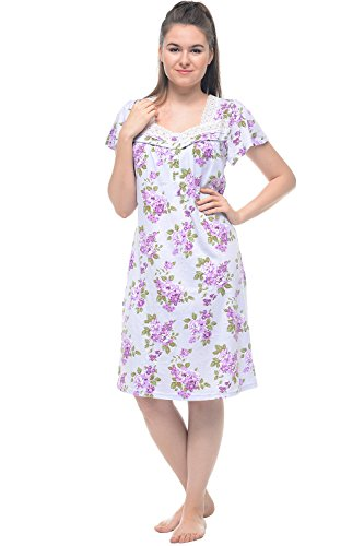 Casual Nights Women's Lightweight Flowers Lace Cap Sleeves Nightgown - Flower/Purple - X-Large