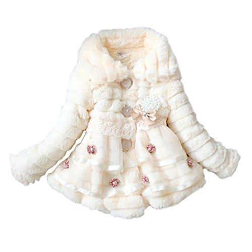 Junoesque Baby Toddlers Girls Faux Fur Fleece Lined Coat Kids Winter Warm Jacket (6#2-3 Years, Light Yellow)