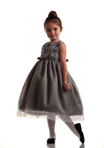 Penelope Flower Sequin Embroidered Flower Girl Dress For Infants Fancy Dress Color: Silver Dress Size: 6M-9M (6-9 Months) front-693137
