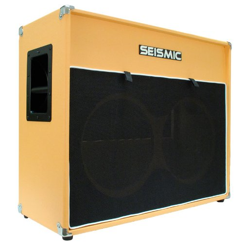 "Seismic Audio - 2X12 Guitar Speaker Cabinet Empty - 7 Ply Birch - 12"" Speakerless Cab - Vintage 212 - Orange Tolex - Black Cloth Grill - Front Or Rear Loading Options"